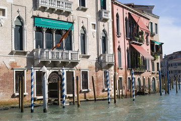 Colorful ancient houses on Grand Canal in Venice