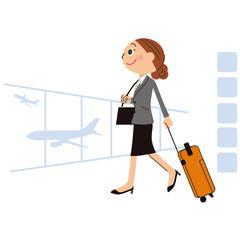 海外出張する女性