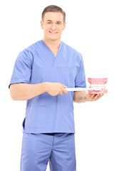 Male dentist holding a toothbrush and a denture