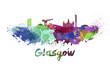 canvas print picture - Glasgow skyline in watercolor