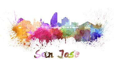 San Jose skyline in watercolor