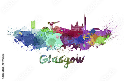 canvas print picture Glasgow skyline in watercolor