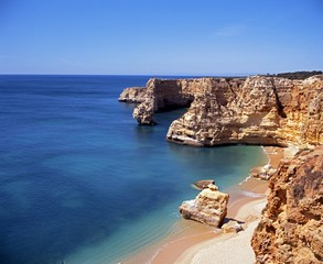 Beach and coastline, Praia da marinha, Portugal.