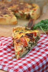 French quiche with cheese, dried tomatoes