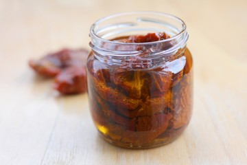 Home made sun dried tomatoes in olive oil