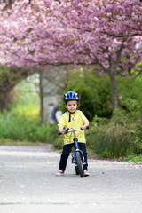 Little boy playing with his bike outdoors in the park