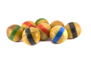 old wooden balls collection for game