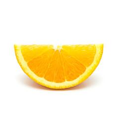 One orange fruit segment isolated on white background