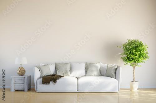 canvas print picture Sofa im Wohnzimmer mit Platz für Leinwand