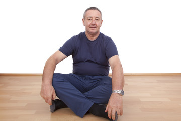 Man sitting alone on the floor
