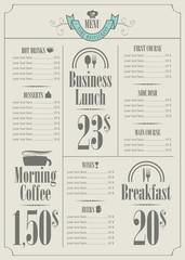 price list for the restaurant menu