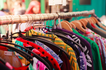 Clothes on a rail at street market