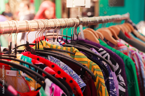 canvas print picture Clothes on a rail at street market