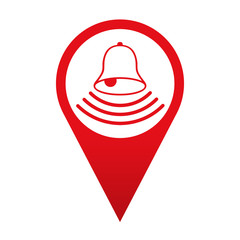 Icono localizacion simbolo timbre de alarma