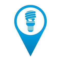 Icono localizacion simbolo bombilla de bajo consumo