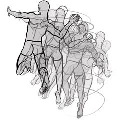 handball players illustration on white background