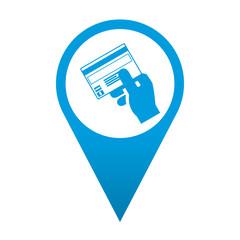 Icono localizacion simbolo pago con tarjeta de credito