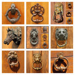 beautiful old door knockers collection as background