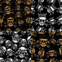 Set of backgrounds Seamless emblems of skulls