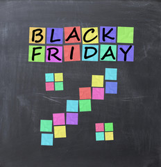 Black Friday sales concept text on blackboard