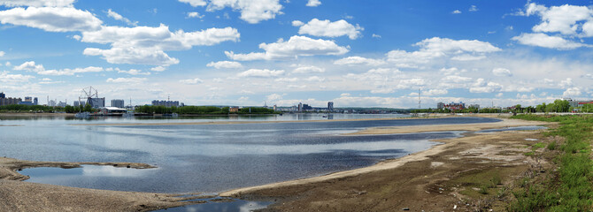 Panorama of Amur River and cities Heihe and Blagoveshchensk