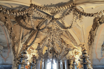 Chandelier made of bones and skulls in Sedlec ossuary