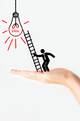 Businessman sketch climbing success ladder concept