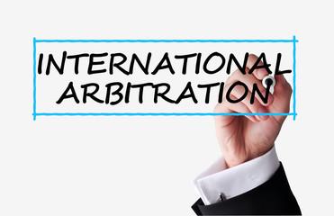 International arbitration text on transparent background