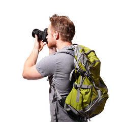 young man tourist use camera