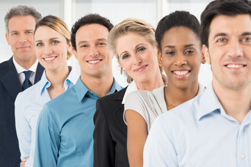 Multiracial Businesspeople In Row