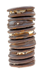 Moon Pies Stacked On A White Background