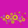 Floral background with summer flowers and leaves