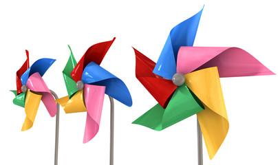 Colorful Pinwheels Isolated