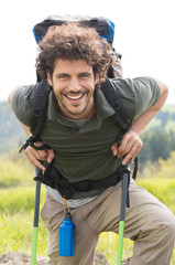 Happy Man Hiking Outdoor