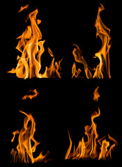 collection of four yellow flames isolated on black
