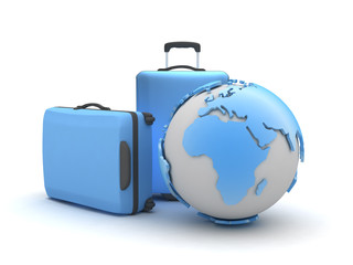 Two suitcases and earth globe on white background
