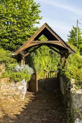 Lych gate of St Mary's church, Upton Hellions, Devon.