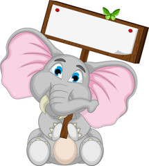 cute elephant cartoon holding blank board