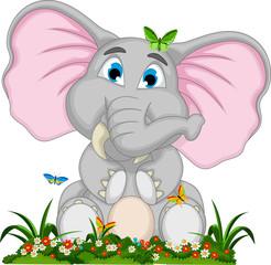 cute elephant cartoon sitting in garden