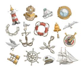 Sea icons. Vector format