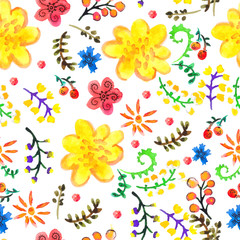 Bright Seamless watercolor color floral background