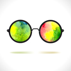 Sun glasses with reflection of colorful watercolor spots