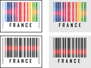 Bar Code icon and red laser sensor beam over France
