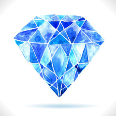 Watercolor beautiful blue diamond