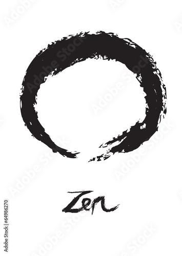 Zen Buddhism Circle Symbol Enso on White Background