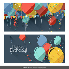 Vector set of flat birthday banners
