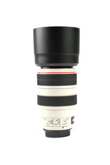 White camera lens over the white background