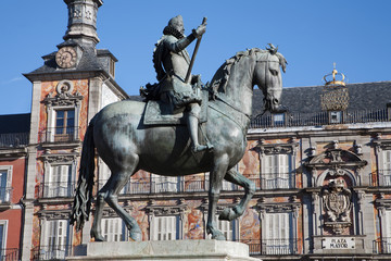 Madrid - statue of Philips III on Plaza Mayor