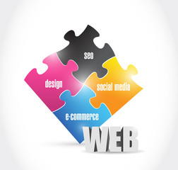 web solutions puzzle illustration design