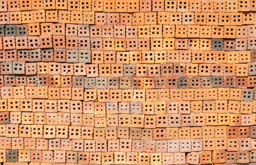 Pile of bricks for construction work